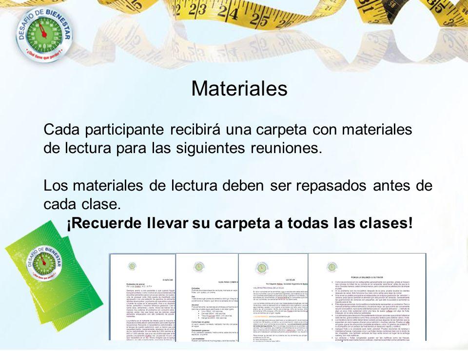 Materiales Cada participante recibirá una carpeta con materiales de lectura para las siguientes reuniones. Los materiales de lectura deben ser repasad