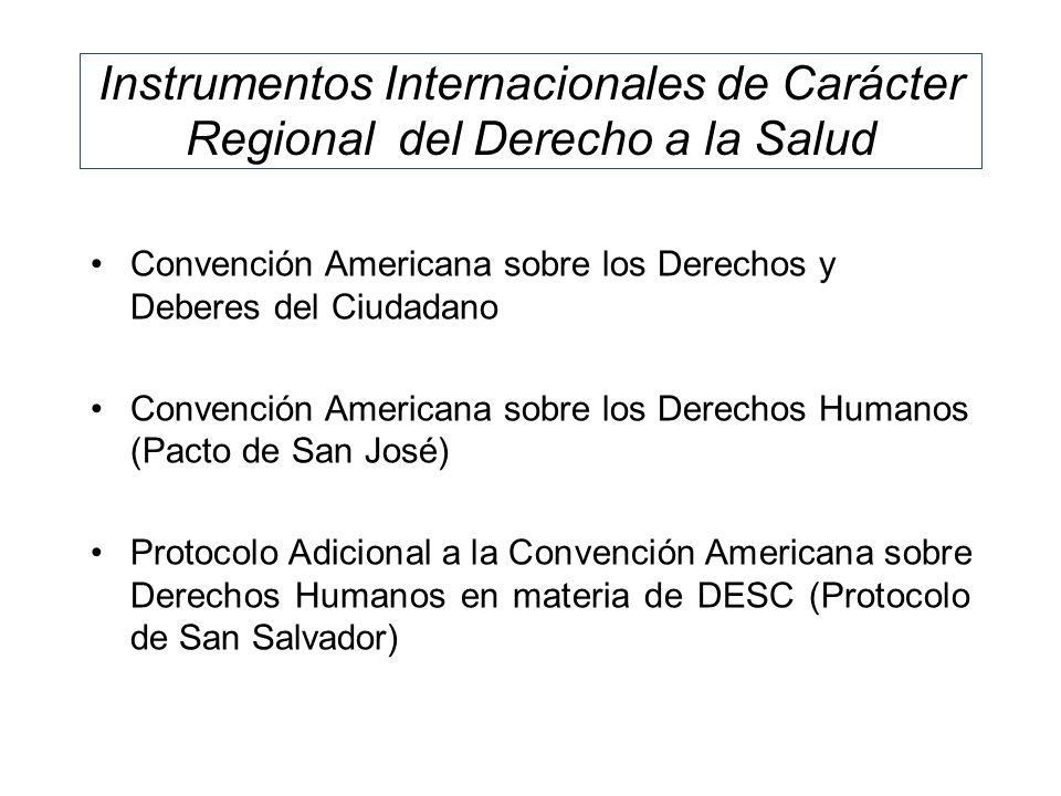 Instrumentos Internacionales de Carácter Regional del Derecho a la Salud Convención Americana sobre los Derechos y Deberes del Ciudadano Convención Am