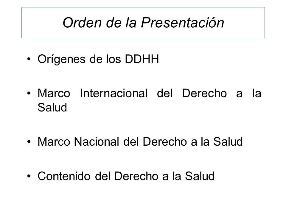 Orden de la Presentación Orígenes de los DDHH Marco Internacional del Derecho a la Salud Marco Nacional del Derecho a la Salud Contenido del Derecho a