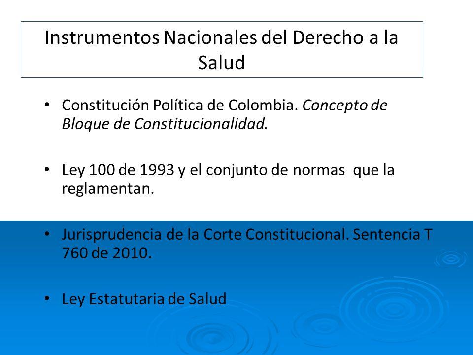 Instrumentos Nacionales del Derecho a la Salud Constitución Política de Colombia. Concepto de Bloque de Constitucionalidad. Ley 100 de 1993 y el conju
