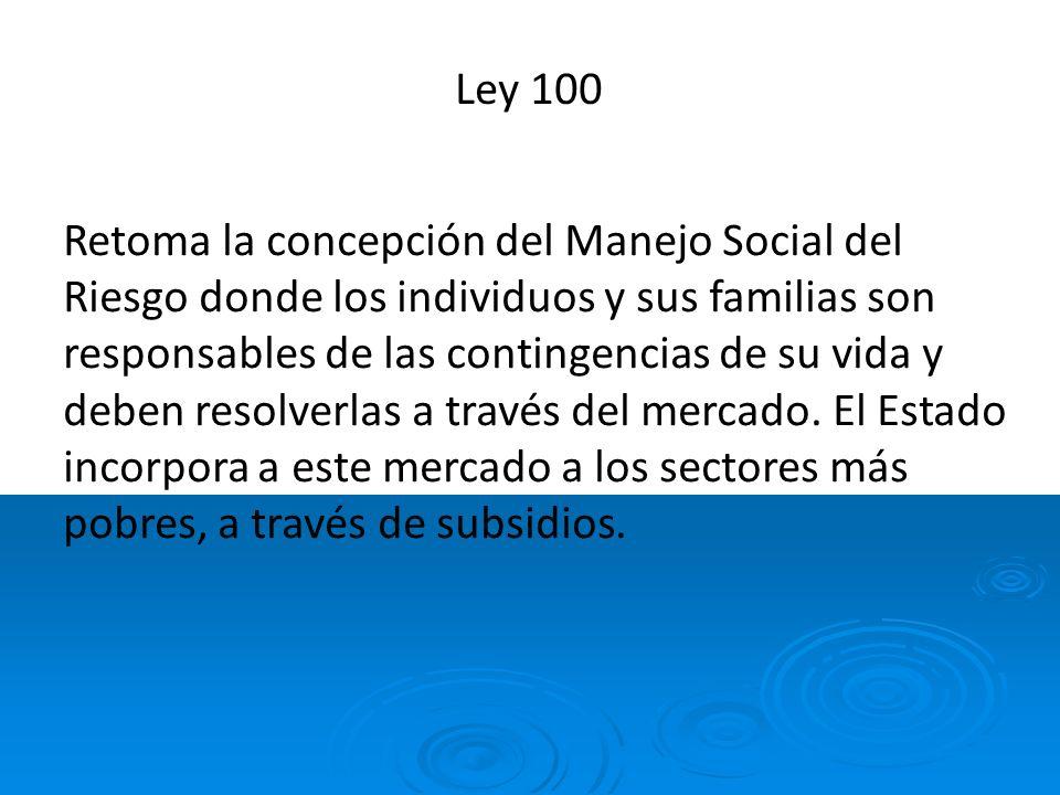 Ley 100 Retoma la concepción del Manejo Social del Riesgo donde los individuos y sus familias son responsables de las contingencias de su vida y deben