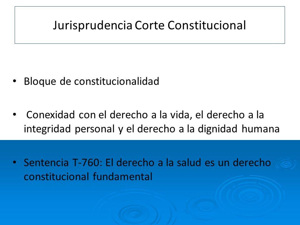 Jurisprudencia Corte Constitucional Bloque de constitucionalidad Conexidad con el derecho a la vida, el derecho a la integridad personal y el derecho