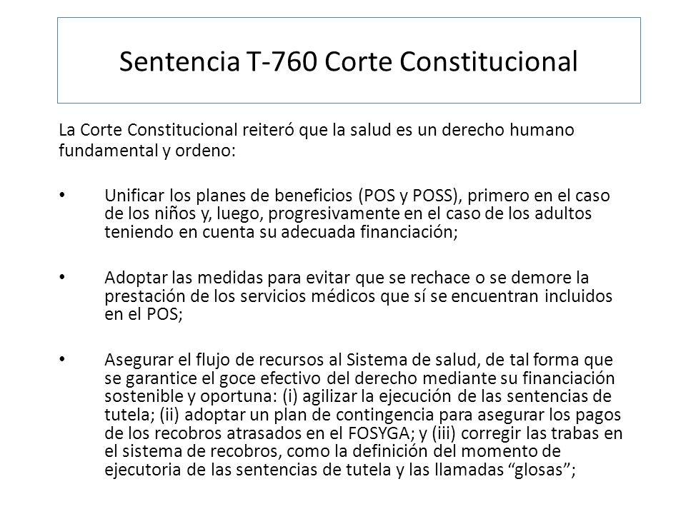 La Corte Constitucional reiteró que la salud es un derecho humano fundamental y ordeno: Unificar los planes de beneficios (POS y POSS), primero en el