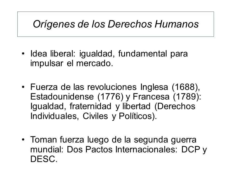 Orígenes de los Derechos Humanos Idea liberal: igualdad, fundamental para impulsar el mercado. Fuerza de las revoluciones Inglesa (1688), Estadouniden