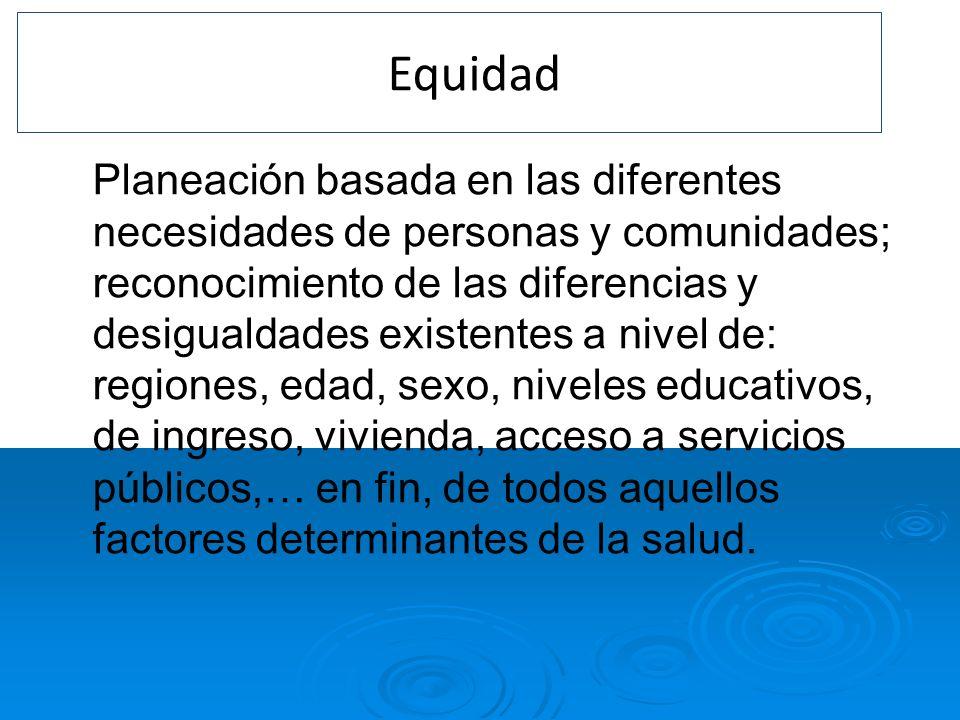 4. Equidad Planeación basada en las diferentes necesidades de personas y comunidades; reconocimiento de las diferencias y desigualdades existentes a n