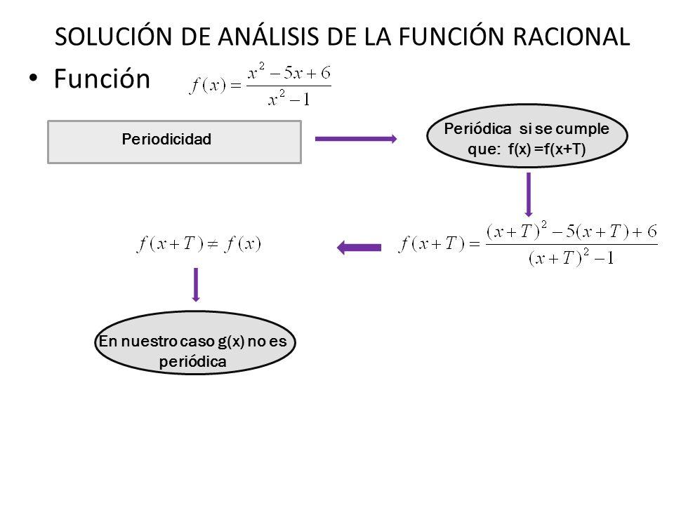 Función Periodicidad Periódica si se cumple que: f(x) =f(x+T) En nuestro caso g(x) no es periódica SOLUCIÓN DE ANÁLISIS DE LA FUNCIÓN RACIONAL