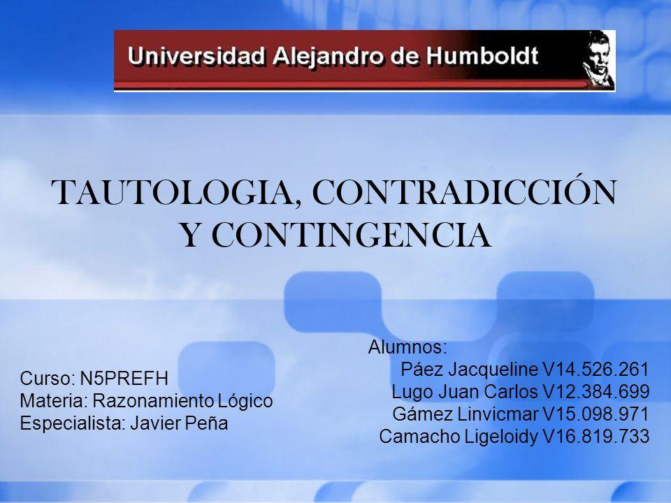 TAUTOLOGIA, CONTRADICCIÓN Y CONTINGENCIA Alumnos: Páez Jacqueline V14.526.261 Lugo Juan Carlos V12.384.699 Gámez Linvicmar V15.098.971 Camacho Ligeloi