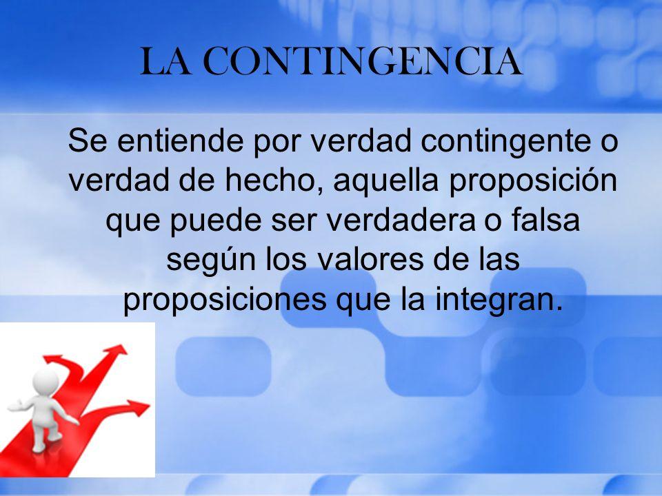 LA CONTINGENCIA Se entiende por verdad contingente o verdad de hecho, aquella proposición que puede ser verdadera o falsa según los valores de las pro