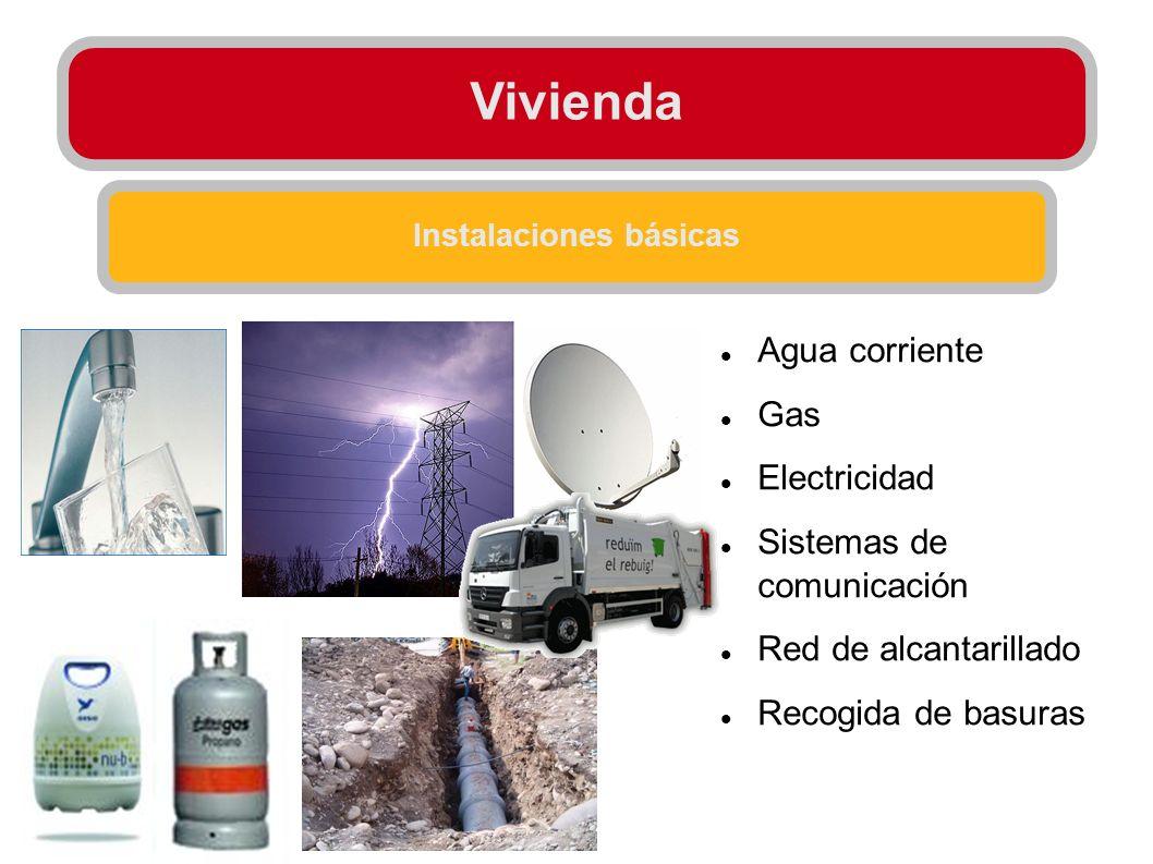 Instalaciones básicas Agua corriente Gas Electricidad Sistemas de comunicación Red de alcantarillado Recogida de basuras
