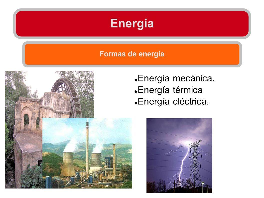 Energía Formas de energía Energía mecánica. Energía térmica Energía eléctrica.