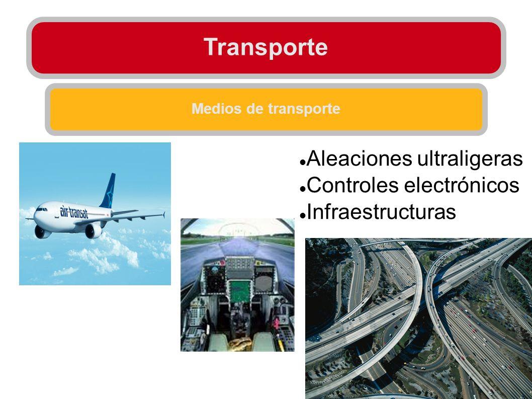 Transporte Medios de transporte Aleaciones ultraligeras Controles electrónicos Infraestructuras