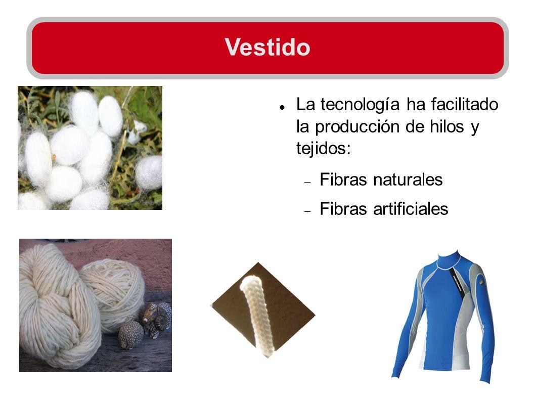 Vestido La tecnología ha facilitado la producción de hilos y tejidos: Fibras naturales Fibras artificiales