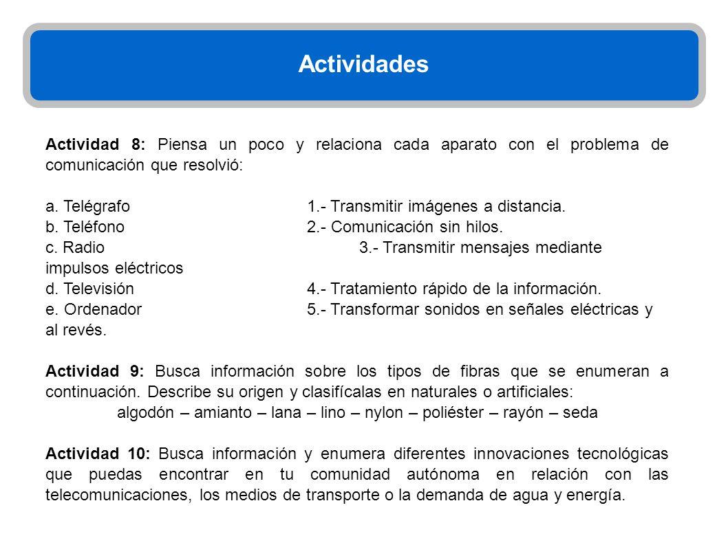 Actividades Actividad 8: Piensa un poco y relaciona cada aparato con el problema de comunicación que resolvió: a. Telégrafo1.- Transmitir imágenes a d