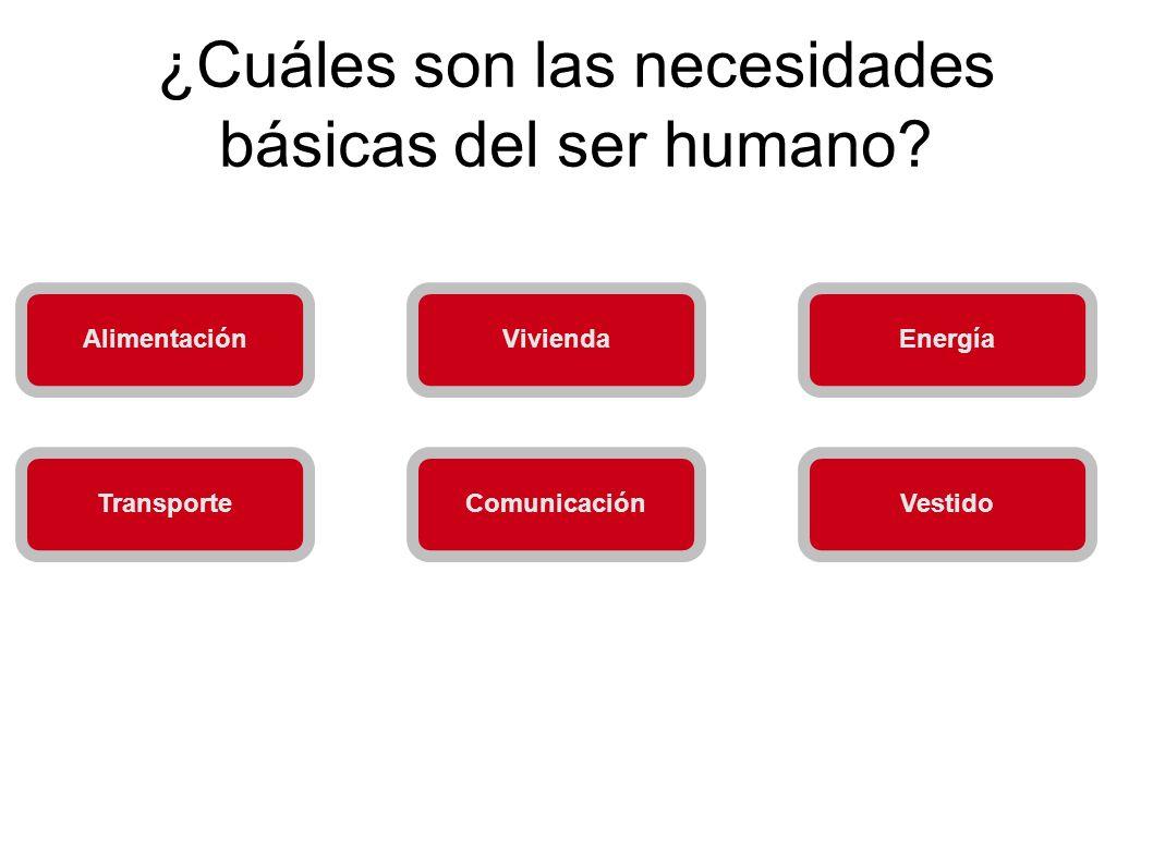 ¿Cuáles son las necesidades básicas del ser humano? AlimentaciónViviendaEnergía VestidoComunicaciónTransporte