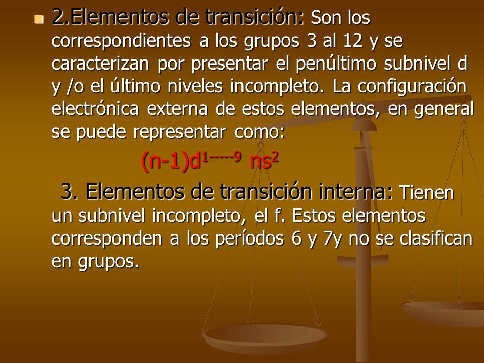 Clasificación periódica de los elementos 1.Elementos representativos: Se distribuyen a lo largo de casi todos los grupos. Se excluyen los elementos de