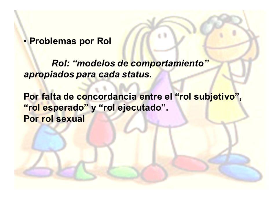 Problemas por Rol Rol: modelos de comportamiento apropiados para cada status. Por falta de concordancia entre el rol subjetivo, rol esperado y rol eje