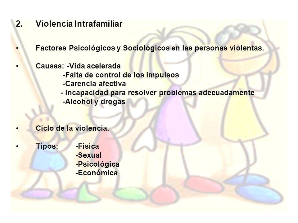 2.Violencia Intrafamiliar Factores Psicológicos y Sociológicos en las personas violentas. Causas: -Vida acelerada -Falta de control de los impulsos -C