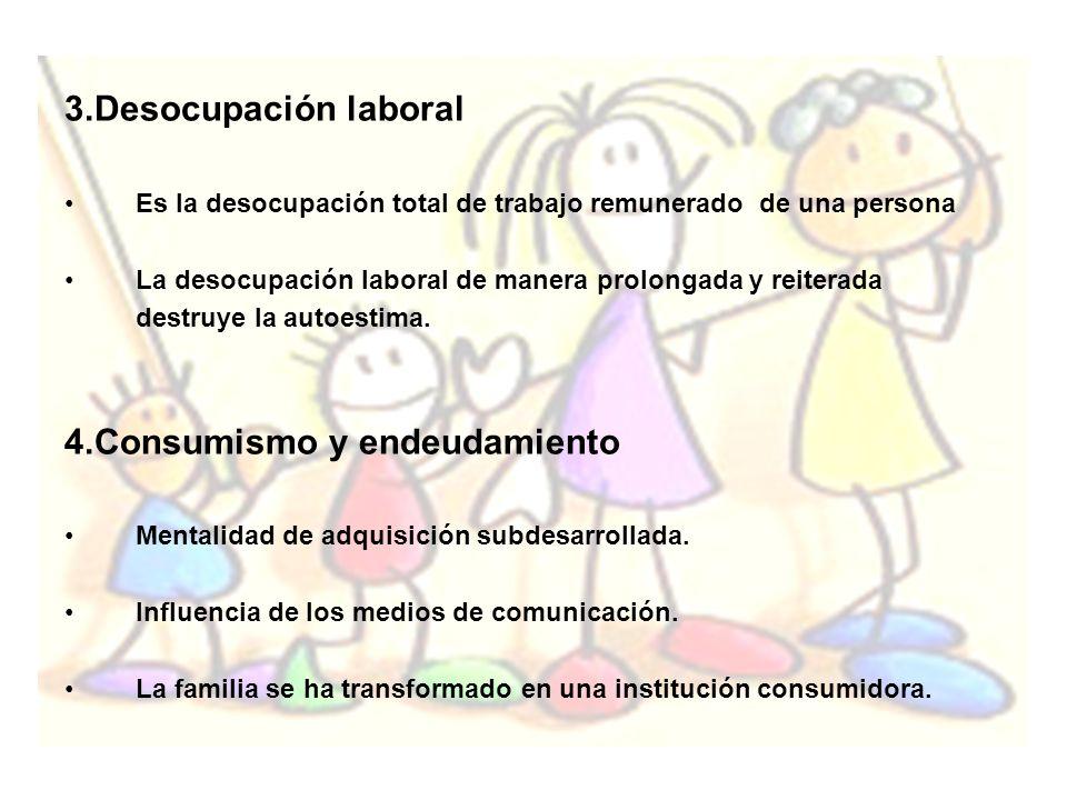 3.Desocupación laboral Es la desocupación total de trabajo remunerado de una persona La desocupación laboral de manera prolongada y reiterada destruye
