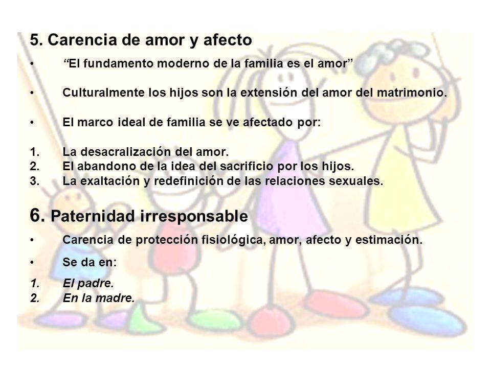 5. Carencia de amor y afecto El fundamento moderno de la familia es el amor Culturalmente los hijos son la extensión del amor del matrimonio. El marco