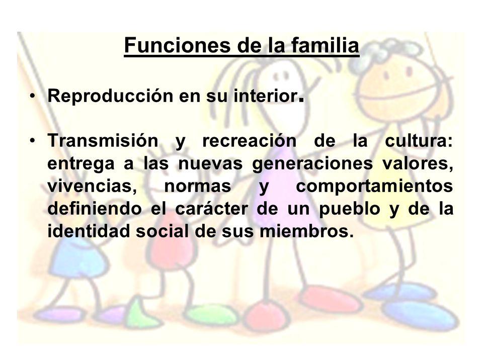 Funciones de la familia Reproducción en su interior. Transmisión y recreación de la cultura: entrega a las nuevas generaciones valores, vivencias, nor