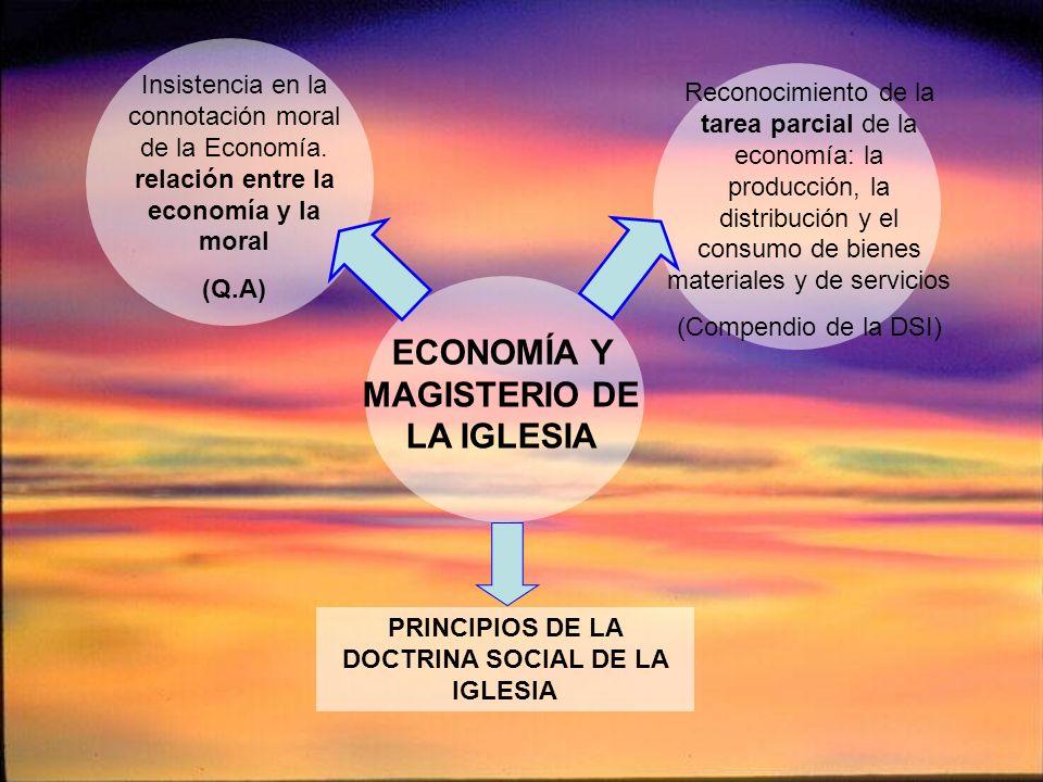 Insistencia en la connotación moral de la Economía. relación entre la economía y la moral (Q.A) PRINCIPIOS DE LA DOCTRINA SOCIAL DE LA IGLESIA Reconoc