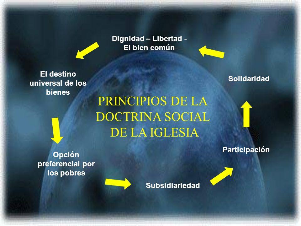 Dignidad – Libertad - El bien común El destino universal de los bienes Opción preferencial por los pobres Subsidiariedad Participación Solidaridad