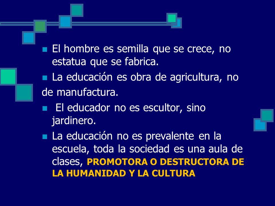 El hombre es semilla que se crece, no estatua que se fabrica. La educación es obra de agricultura, no de manufactura. El educador no es escultor, sino