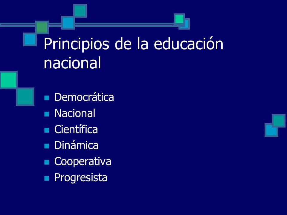 Principios de la educación nacional Democrática Nacional Científica Dinámica Cooperativa Progresista