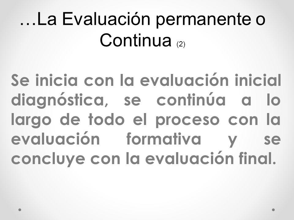 Se inicia con la evaluación inicial diagnóstica, se continúa a lo largo de todo el proceso con la evaluación formativa y se concluye con la evaluación