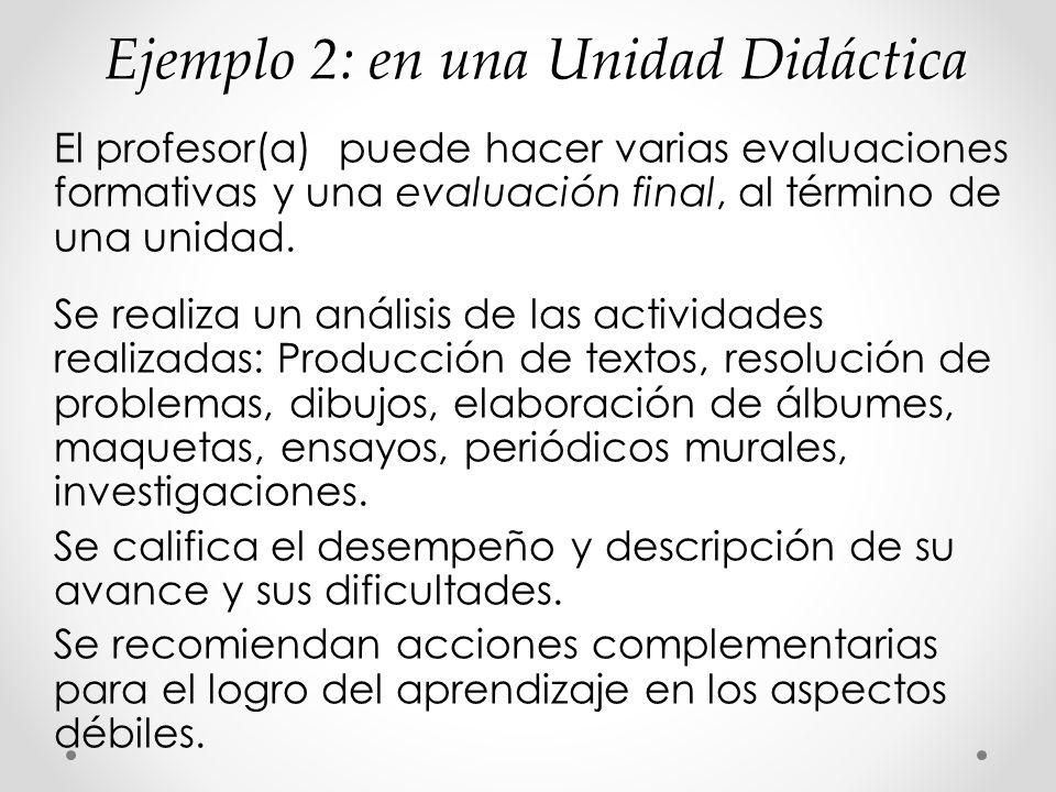 Ejemplo 2: en una Unidad Didáctica El profesor(a) puede hacer varias evaluaciones formativas y una evaluación final, al término de una unidad. Se real