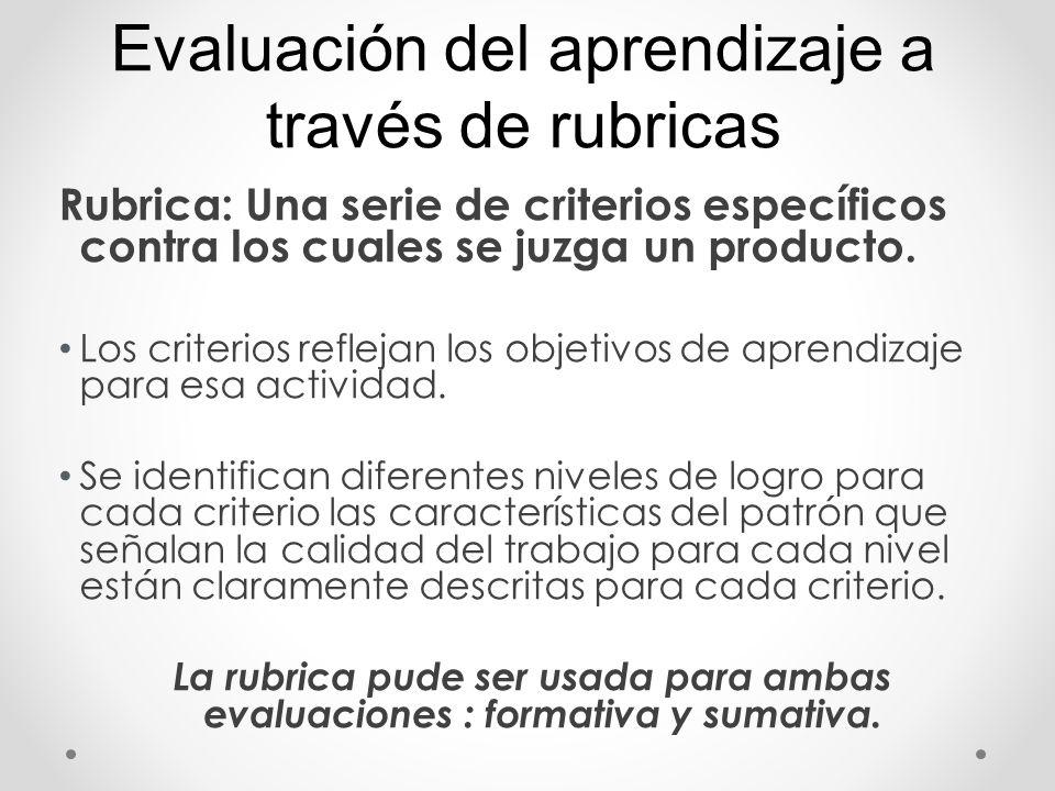 Rubrica: Una serie de criterios específicos contra los cuales se juzga un producto. Los criterios reflejan los objetivos de aprendizaje para esa activ