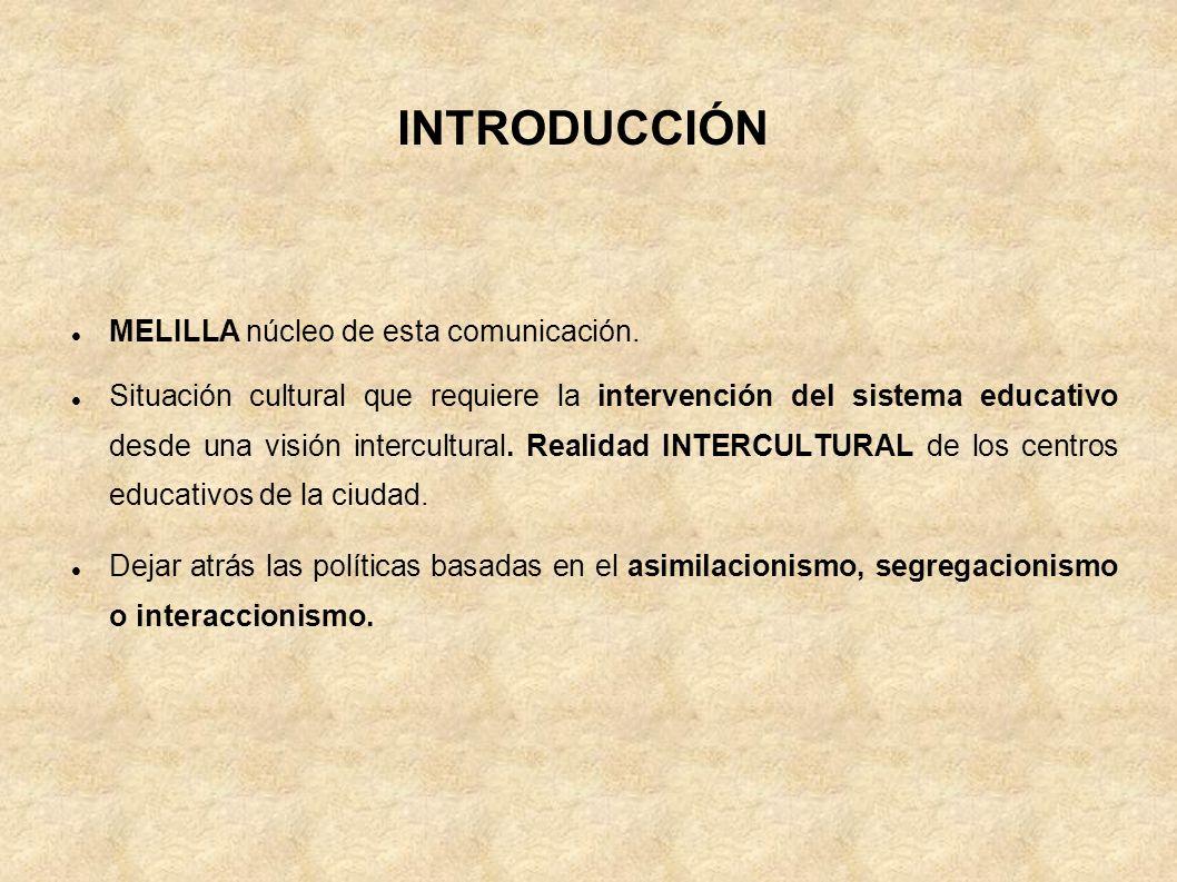 INTRODUCCIÓN MELILLA núcleo de esta comunicación. Situación cultural que requiere la intervención del sistema educativo desde una visión intercultural