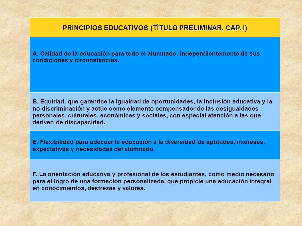TÍTULO PRELIMINAR, CAP. I PRINCIPIOS EDUCATIVOS (TÍTULO PRELIMINAR, CAP. I) A. Calidad de la educación para todo el alumnado, independientemente de su