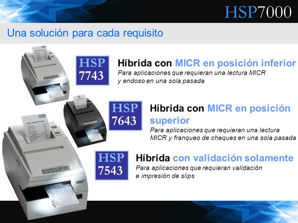 HSP7000 Híbrida con validación solamente Para aplicaciones que requieran validación e impresión de slips Híbrida con MICR en posición superior Para ap