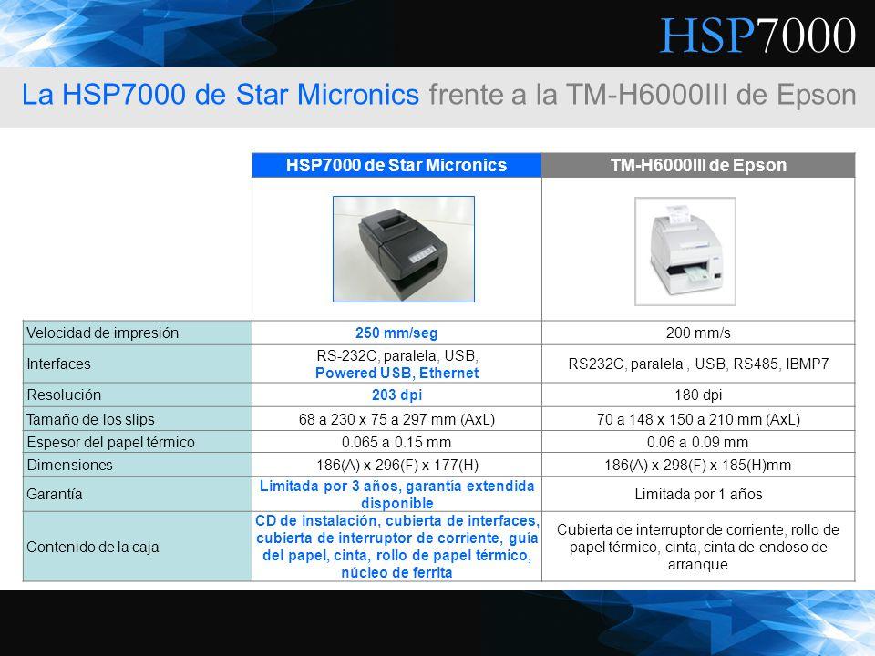 HSP7000 La HSP7000 de Star Micronics frente a la TM-H6000III de Epson HSP7000 de Star MicronicsTM-H6000III de Epson Velocidad de impresión250 mm/seg20