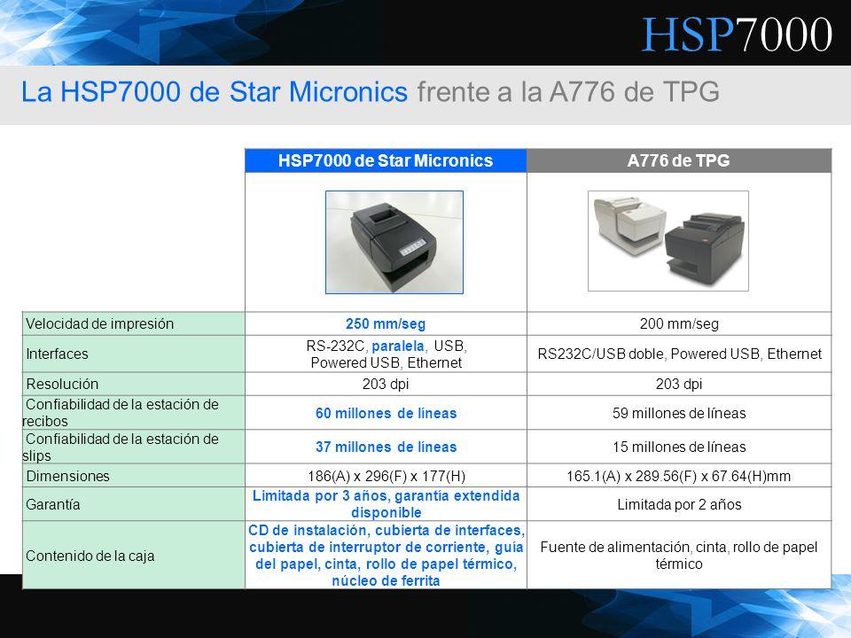 HSP7000 HSP7000 de Star MicronicsA776 de TPG Velocidad de impresión250 mm/seg200 mm/seg Interfaces RS-232C, paralela, USB, Powered USB, Ethernet RS232