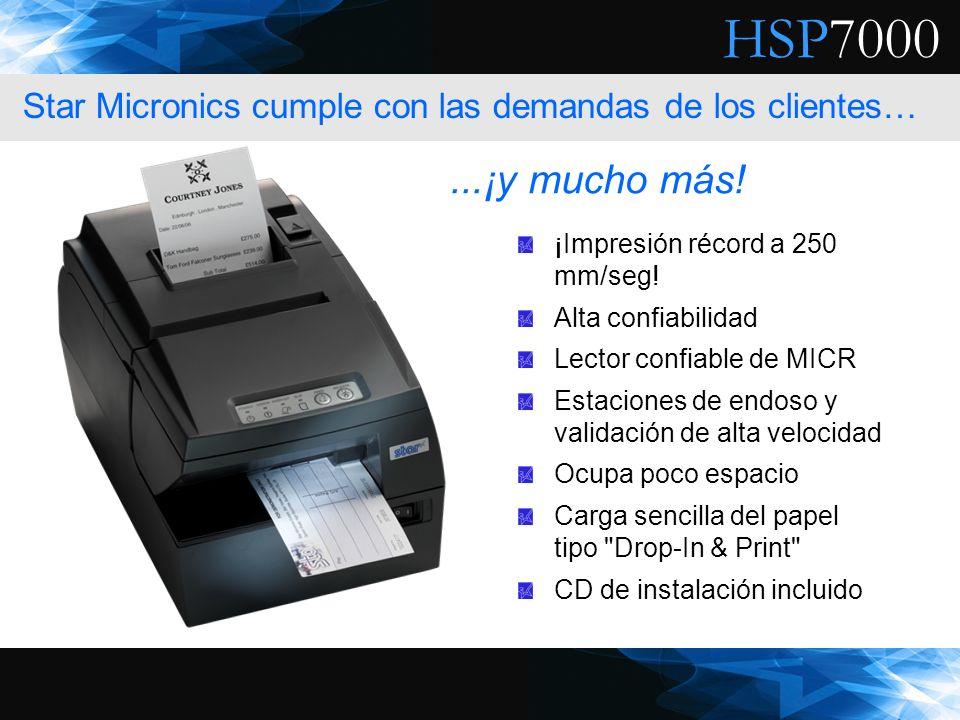 HSP7000 ¡Impresión récord a 250 mm/seg! Alta confiabilidad Lector confiable de MICR Estaciones de endoso y validación de alta velocidad Ocupa poco esp