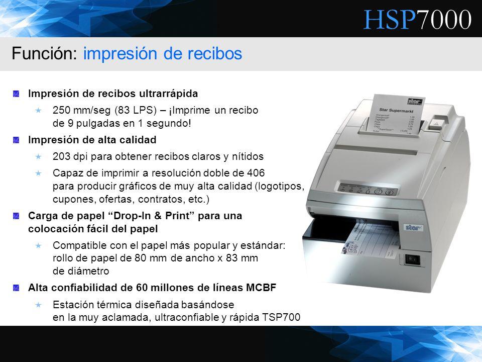 HSP7000 Impresión de recibos ultrarrápida 250 mm/seg (83 LPS) – ¡Imprime un recibo de 9 pulgadas en 1 segundo! Impresión de alta calidad 203 dpi para