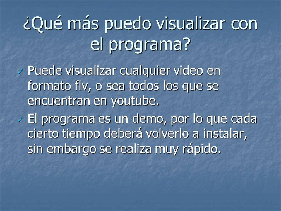 ¿Qué más puedo visualizar con el programa? Puede visualizar cualquier video en formato flv, o sea todos los que se encuentran en youtube. Puede visual