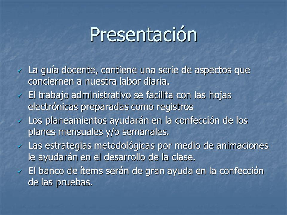 Presentación La guía docente, contiene una serie de aspectos que conciernen a nuestra labor diaria. La guía docente, contiene una serie de aspectos qu