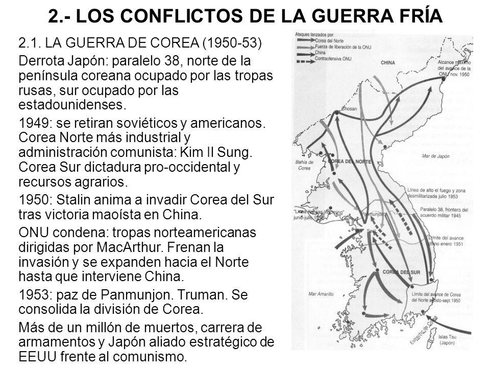 2.- LOS CONFLICTOS DE LA GUERRA FRÍA 2.1. LA GUERRA DE COREA (1950-53) Derrota Japón: paralelo 38, norte de la península coreana ocupado por las tropa