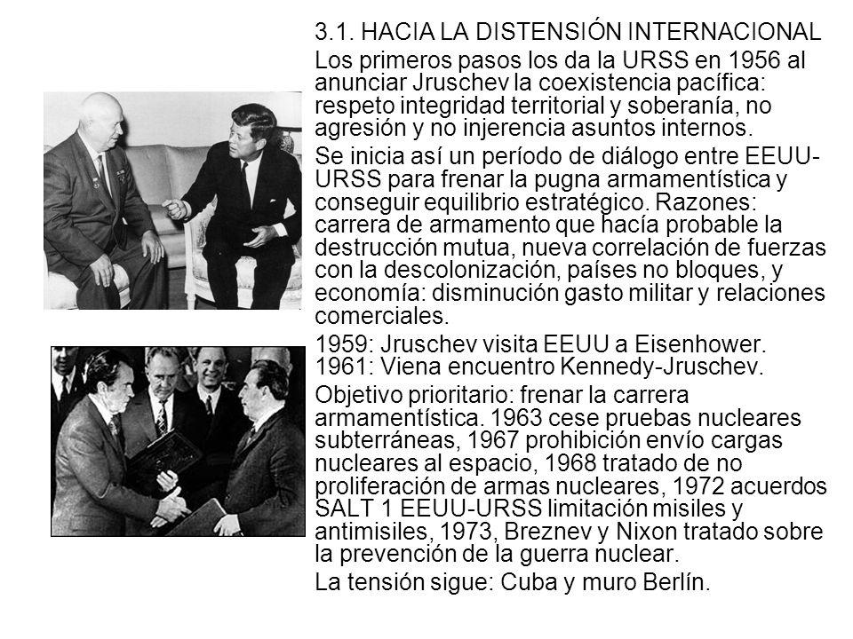 3.1. HACIA LA DISTENSIÓN INTERNACIONAL Los primeros pasos los da la URSS en 1956 al anunciar Jruschev la coexistencia pacífica: respeto integridad ter