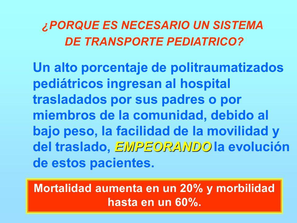EMPEORANDO Un alto porcentaje de politraumatizados pediátricos ingresan al hospital trasladados por sus padres o por miembros de la comunidad, debido al bajo peso, la facilidad de la movilidad y del traslado, EMPEORANDO la evolución de estos pacientes.