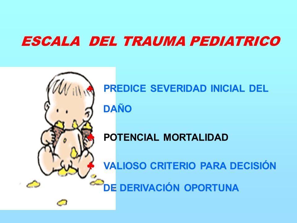PREDICE SEVERIDAD INICIAL DEL DAÑO POTENCIAL MORTALIDAD VALIOSO CRITERIO PARA DECISIÓN DE DERIVACIÓN OPORTUNA ESCALA DEL TRAUMA PEDIATRICO