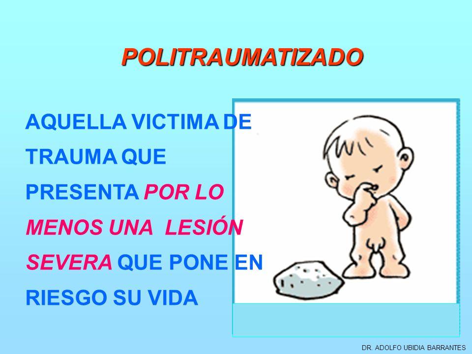 DR. ADOLFO UBIDIA BARRANTES POLITRAUMATIZADO AQUELLA VICTIMA DE TRAUMA QUE PRESENTA POR LO MENOS UNA LESIÓN SEVERA QUE PONE EN RIESGO SU VIDA
