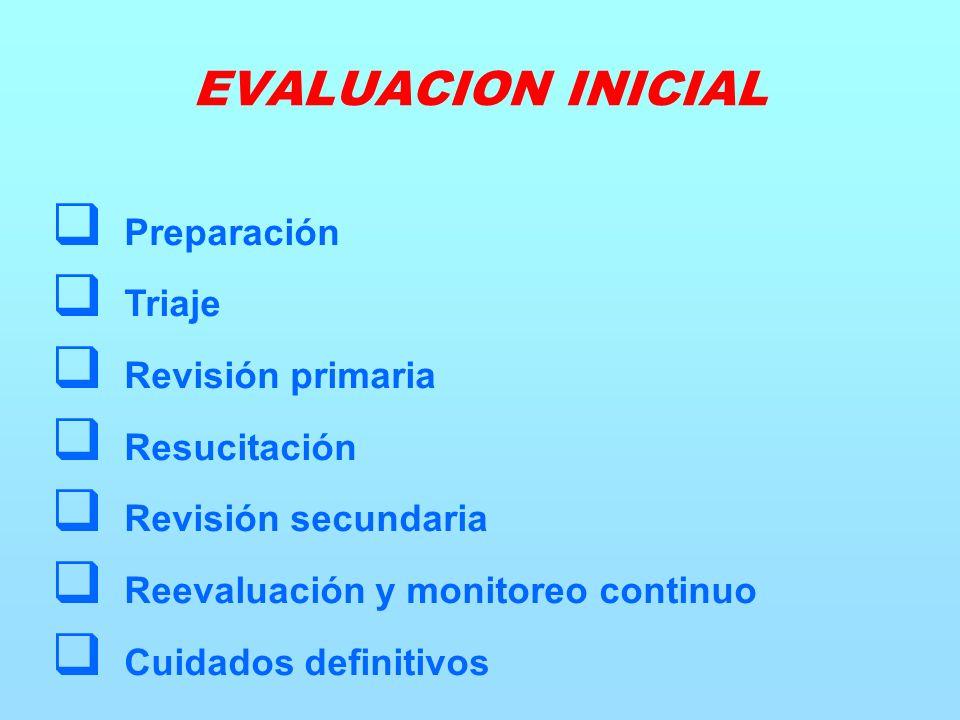 Preparación Triaje Revisión primaria Resucitación Revisión secundaria Reevaluación y monitoreo continuo Cuidados definitivos EVALUACION INICIAL