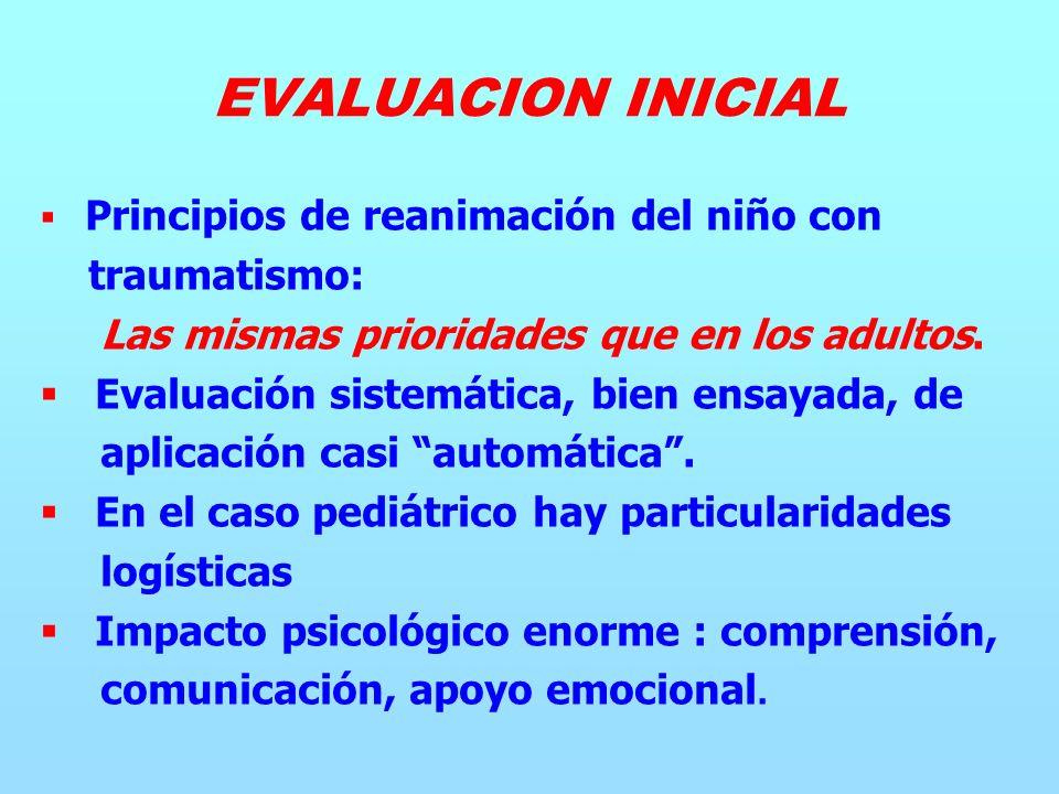 Principios de reanimación del niño con traumatismo: Las mismas prioridades que en los adultos.