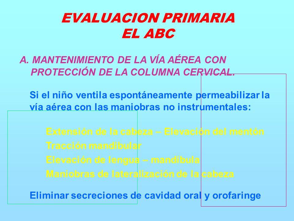 A. MANTENIMIENTO DE LA VÍA AÉREA CON PROTECCIÓN DE LA COLUMNA CERVICAL.