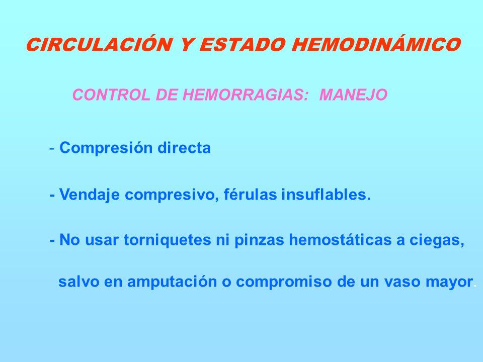 CONTROL DE HEMORRAGIAS: MANEJO - Compresión directa - Vendaje compresivo, férulas insuflables.