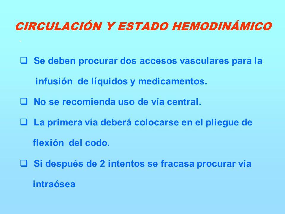 Se deben procurar dos accesos vasculares para la infusión de líquidos y medicamentos.